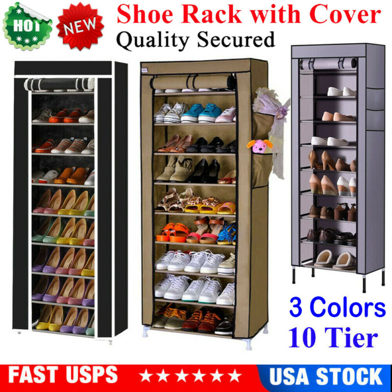 USA 10 Tier 27 Pairs Shoe Rack Tower Cabinet with Cover Organizer Storage Shelf