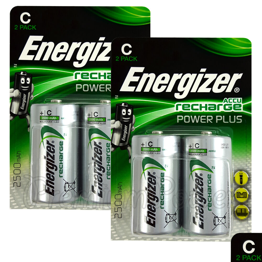 4x rechargeable c size batteries accu recharge