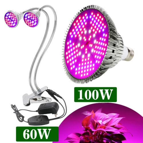 60W 100W LED Grow Light Bulb E27 Dual Head Full Spectrum Lam