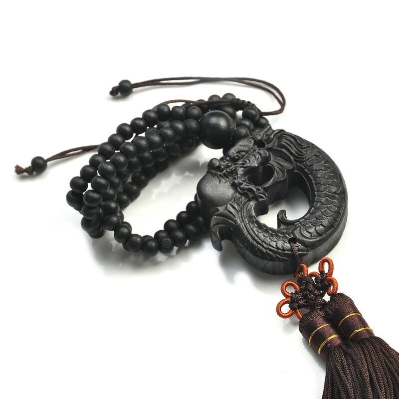 Ebony Wood Carving Chinese Fengshui Dragon Sculpture Prayer Beads Car Pendant YK