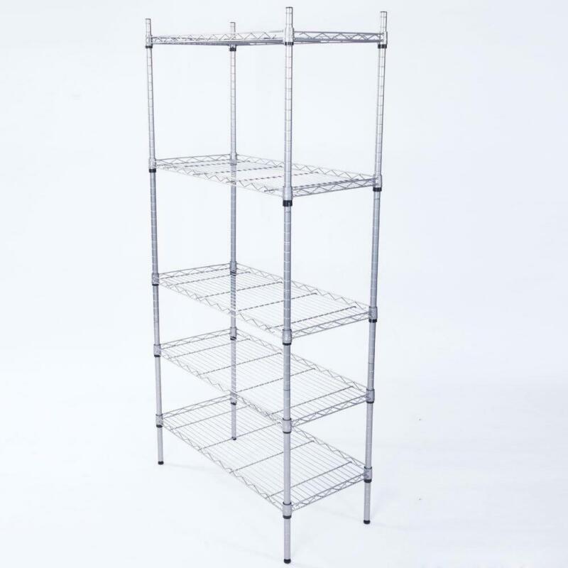 Adjustable 5 Tier Metal Storage Rack Shelves Kitchen Storage Home Standing