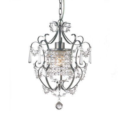 Gorgeous ZARA Pewter Grey Crystal Chandelier Wrought Iron Provincial Style 1 Arm - Iron Pewter Chandelier