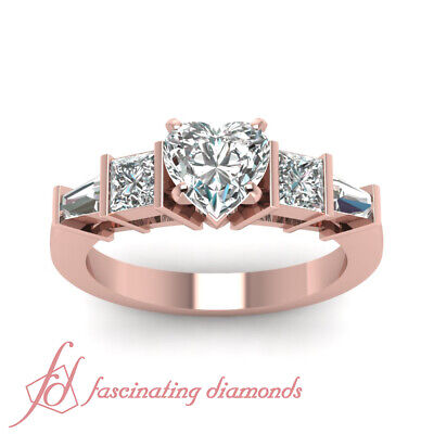 1.50 Ct Princess Cut And Baguette Diamond Ring With Heart Shaped In Center GIA 1