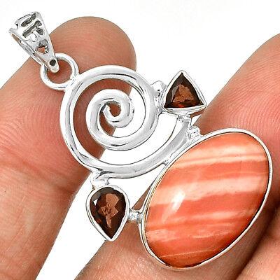 Spiral - Brecciated Pink Opal & Garnet 925 Silver Pendant  Jewelry PP205302 Opale Spiral