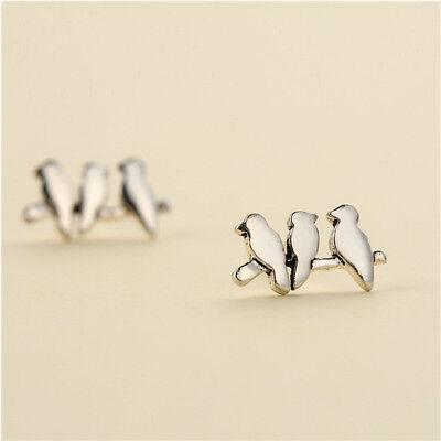 Lovely Fashion Jewelry Women Stud Earrings Bird Shape Silver Ear Stud