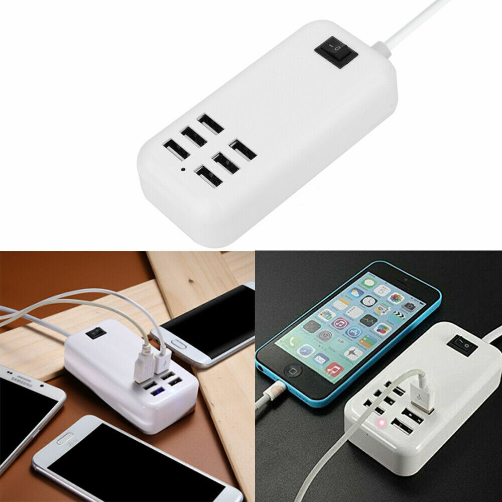 Multi 6 USB Port Desktop Charger Rapid Tower Charging Station Power Adapter US Cell Phone Accessories