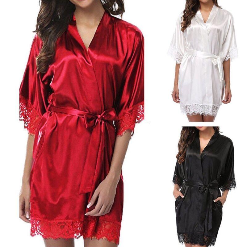 Sexy Damen Lace Seide Robe Kleid Kimono Babydoll Nachthemd Nachthemd Nachtwäsche