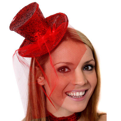 RED MINI TOP HAT WITH NET GLITTER FASCINATOR FANCY DRESS ACCESSORY CHRISTMAS
