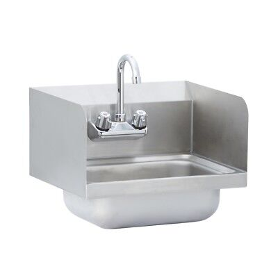 Stainless Steel Commercial Wall Mounted Hand Sink With Side Splash 17 X 15