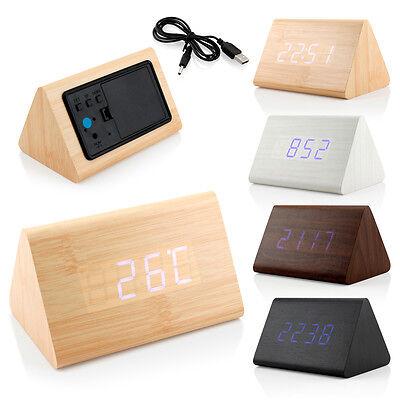 - Classical Triangular Blue Digital LED Wood Wooden Desk Alarm Clock Thermometer