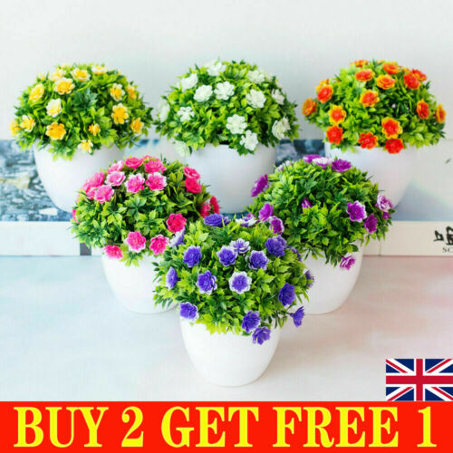 Home Decoration - Artificial Potted Flowers Fake False Plants Outdoor Garden Home In Pot Decor PP