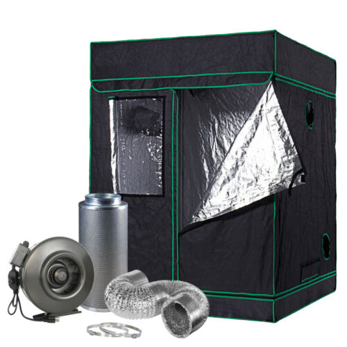 """60"""" x 60"""" x 80"""" Grow Tent Kit 8"""" inch Inline Fan Carbon Filter Air Ducting Kit"""