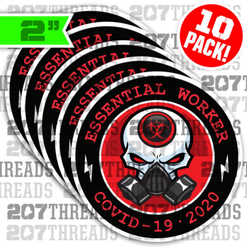 (10) RED Skull w/ Gas Mask Essential Worker Hard Hat Stickers Morale Decals 2020