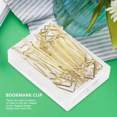 12pcs Gold Alloy Arrow Shaped Paper Clip Funny Stationery Bookmark Marking Clips - Shaped Paper Clips