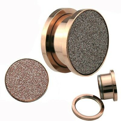 Sandpaper Texture Rose Gold Solid Screw on Steel Ear Plugs Sold Pair - GA21R