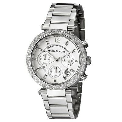 New Michael Kors Parker Silver Chronograph Women's Glitz Stainless Watch MK5353