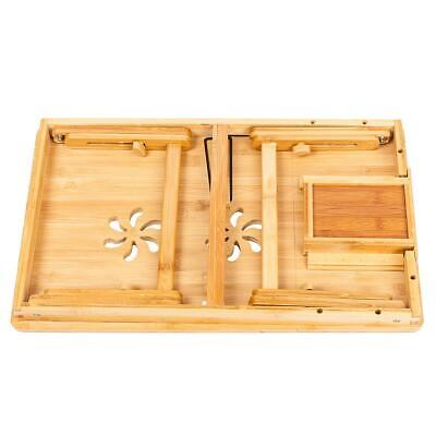 Bamboo Laptop Desk Adjustable Breakfast Serving Bed Tray with Tilting Top Drawer 4