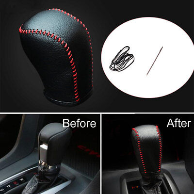 Black Leather Red Thread Gear Shift Knob Cover Shell Trim Bezel For Civic 16-18