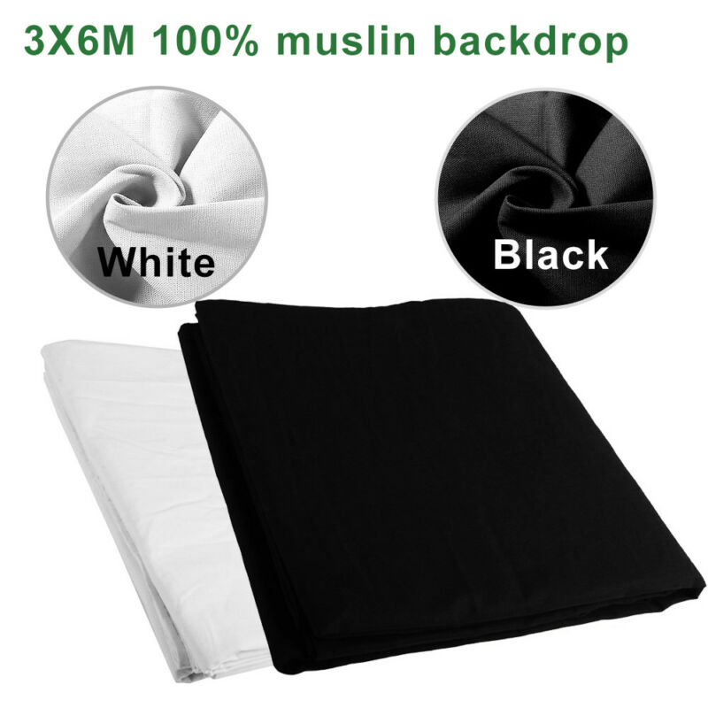 10 x 20 Ft Black & White Muslin Backdrops Photo Studio Background Photography