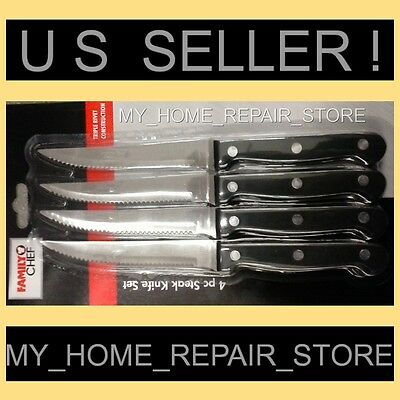 Household CHEF STEAK KNIVES -4 PIECE SET W/ RIVETED STAINLESS STEEL SERRATED BLADES