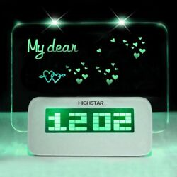 HIGHSTAR Fluorescent Green LED Luminous Memo Message Board Digital Alarm Clock