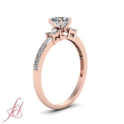 1.65 Ct Rose Gold Heart Shaped Diamond 3 Stone Ring With Princess Accents GIA 2