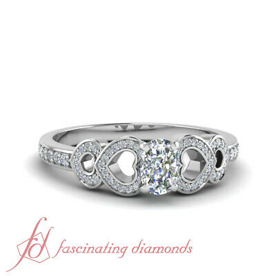 Heart Design Diamond Engagement Ring With Cushion Cut Diamond In Center 1 Carat