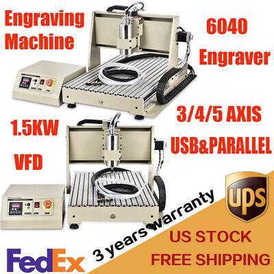 Usb 345 Axis 1.5kw Cnc 6040 Router Desktop Engraver Milling Drilling Machine