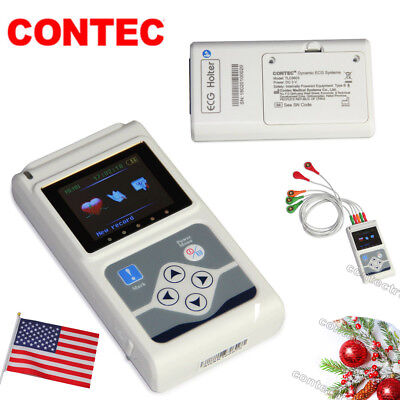 Usa Dynamic Ecg System Contec 3 Channel Holter Ecg Machine 24hour Recorderpc Sw