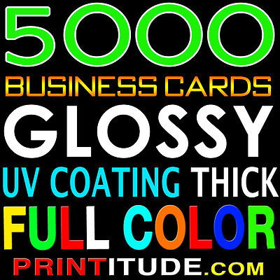 5000 FULL COLOR DOUBLE SIDED 14PT UV Coated GLOSSY BUSINESS CARD, Free Design