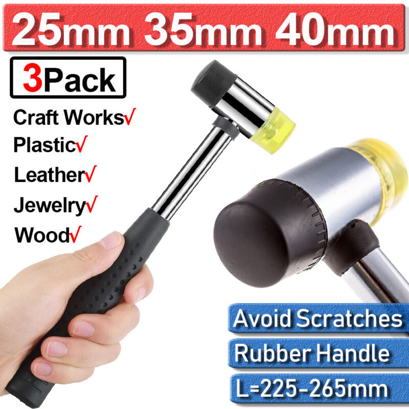 Double Faced Head Larger Small Rubber Hammer Mallet Nonslip Grip 25/35/40mm New