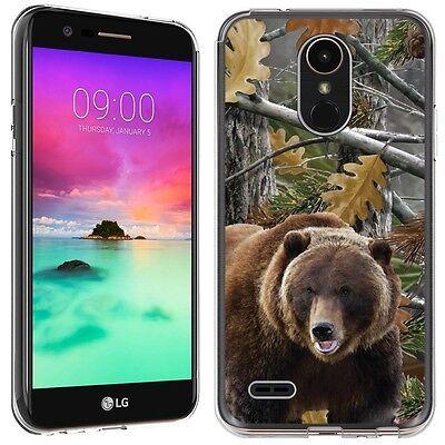 for LG Stylo 3 (Hunter Bear Camo)Clear TPU gel skin phone case cover