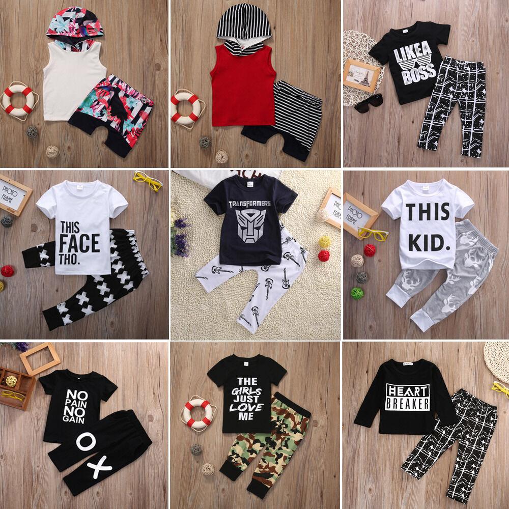 826460405 US Toddler Baby Boy Kids Casual T-shirt Tops+Pants 2pcs Outfits Clothes Set  Lots