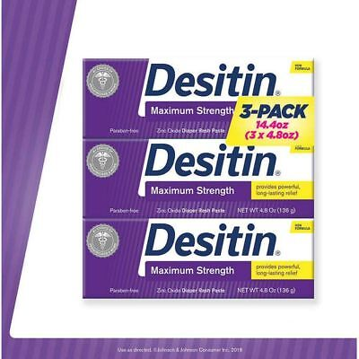 Desitin Maximum Strength [NO TAX] 14.4 Ounces, 3 Tubes, 4.8 Ounces Each