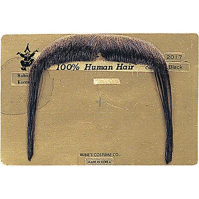 DELUXE 100% HUMAN HAIR BLACK MANDARIN MOUSTACHE (Rubies Halloween 2017)