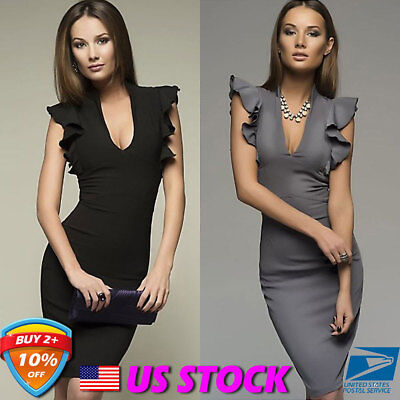 Women's Frill Office Plunge Neck Bodycon Ladies Party Cocktail Pencil Dress USA