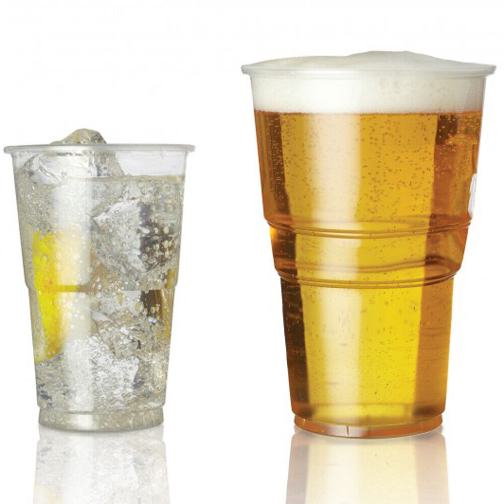 Plastic Pint Clear.Strong Half 1//2 Pint Disposable Beer Glasses Cups Tumblers