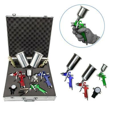 3 HVLP Air Spray Gun Kit Auto Paint Car Primer Detail Basecoat Clearcoat w/ Case Air Tools