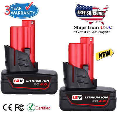 2X 12V For Milwaukee 48-11-2460 M12 LITHIUM ION XC 4.0 Extended Capacity Battery