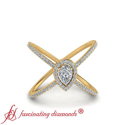 Yellow Gold Split Shank Halo Engagement Ring With Pear Shaped Diamond 0.75 Carat