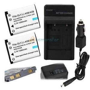 2 Battery +Charger for NIKON EN-EL10 CoolPix S200 S220 S230 S3000 S4000 S5100
