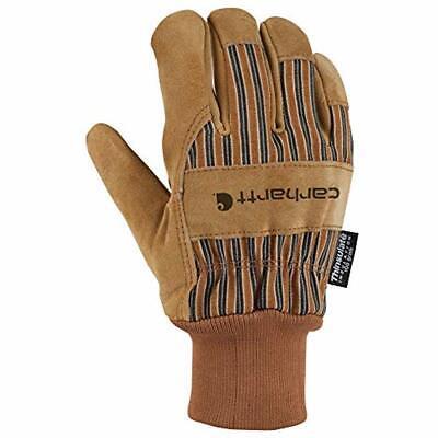 Carhartt Safety Work Gloves Men's Suede Knit Cuff, Brown, Medium Clothing Carhartt Knit Glove