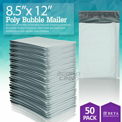 50 2 8.5 X 12 Poly Bubble Padded Envelopes Mailers Shipping Bag 8.5x12
