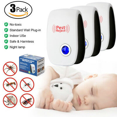 3Pack 2018 Ultrasonic Pest Repeller Control Electronic Repellent Mice Rat Reject 3 Pack Pest Control