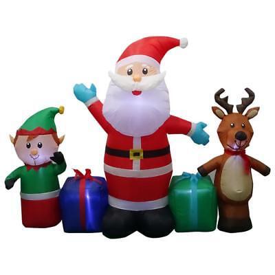 Inflatable Santa And Reindeer (HAH 6.50 ft. W Pre-lit Inflatable Santa, Reindeer and Elf Collection NEVER)