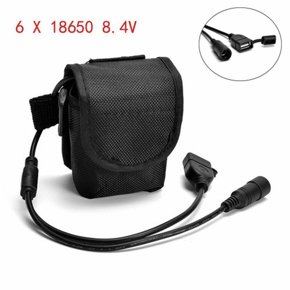 2pcs Rechargeable 8.4v 12000mAh 6x18650 Battery Pack For Head Bicycle Lamp Light