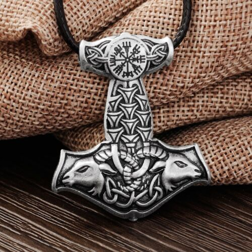 RUNIC Compass Ram's Head Stylized THOR'S HAMMER MJOLNIR Vegvisir VIKING Necklace