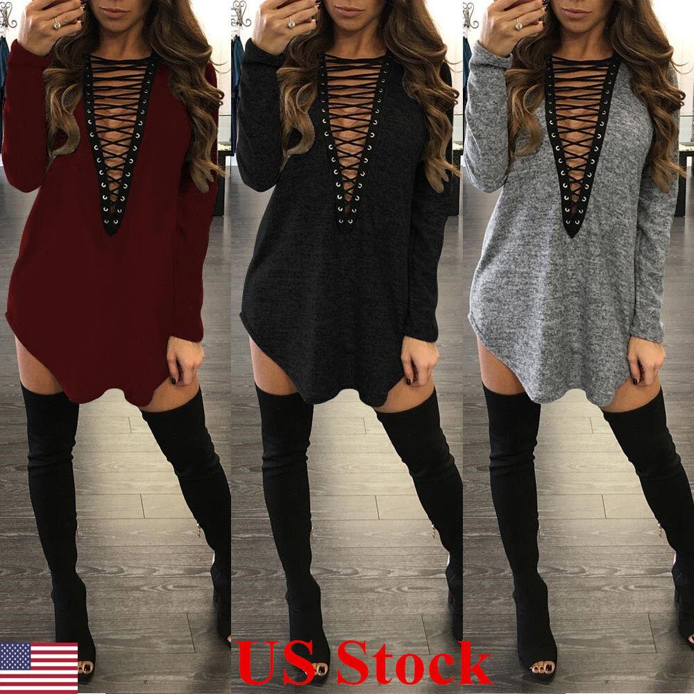 New Women Choker V Neck Casual Loose Long Tops T-Shirt Lace-up Plunge Mini Dress