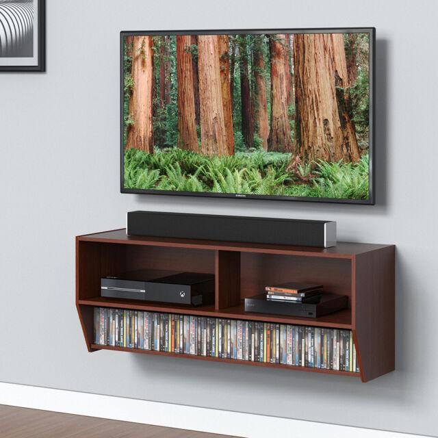 wall mount media console center tv stand desktop stand shelves cd