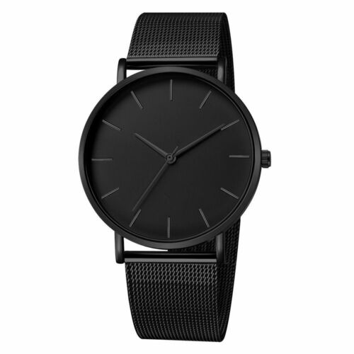 Sports Watches Modern Minimalist Stainless Steel Mesh Band Men Casual Wristwatch